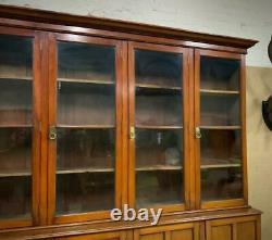 Attractive Very Large Antique Mahogany Six Door Bookcase Cabinet