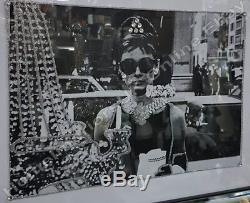 Audrey Hepburn 3 poses picture crystals, liquid art & bevelled mirror frame