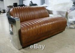 Aviator Art Deco Aluminium 2 Seater Sofa Home Industrial Vintage Tan Leather