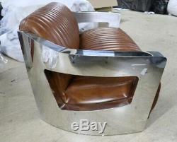 Aviator Art Deco Aluminium 3 Seater Sofa Home Industrial Vintage Tan Leather