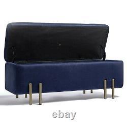 BTFY Storage Ottoman, Blue Velvet Bench Storage Box with Gold Legs