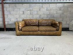 Barker & Stonehouse Art Deco Groucho Style Tan Leather Chesterfield Large Sofa