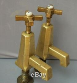 Basin Taps Art Deco Antique Patina Brass Taps Reclaimed & Fully Refurbished