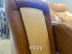 Beautiful Norwegian Art Deco 2-Seater Tan Leather Recliner Cinema Seat / Sofa