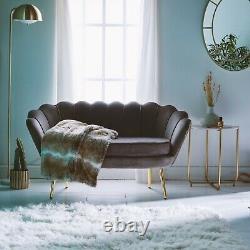 Beautify Grey Petal Loveseat Art Deco Grey Velvet Accent Sofa, Gold Detail