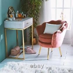 Beautify Pink Velvet Petal Chair Art Deco Chair, Lotus Shape Blush and Gold