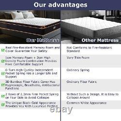 Bedstory 25CM Single 11in Double Pocket Sprung Mattress Memory Foam Pillow Top
