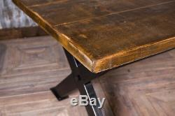 Bespoke Industrial Style 250cm Reclaimed Pine And Steel Kitchen Dining Table