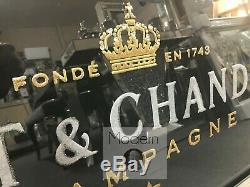 Black 3D Moet and Chandon mirrored Picture, Picture with 3D Sparkle Detail