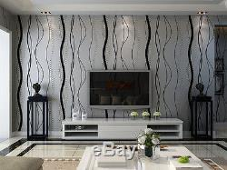 Black & Gray Natural Textured 3D Non-woven Wallpaper Roll Living room Home Decor