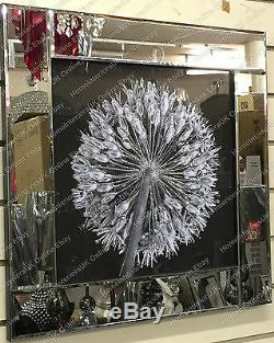 Black & White blossomed flower picture with liquid art & crystals mirror frame/B