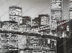 Black & white New York skyline with crystals, liquid art & bevelled mirror frame
