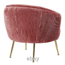 Blush Pink Velvet Scalloped Back Tub Armchair Single Sofa Cuddle Chair Metal Leg