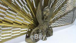 Brass Peacock Fan Fire Screen Fire Guard Art Deco Style Phoenix