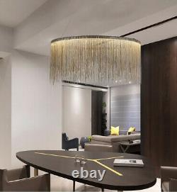 CGC Chrome Silver Waterfall Chandelier LED Large Pendant Light Ceiling Lamp Tier