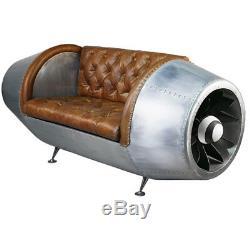 Canape Style Art Deco Aviator Reacteur D'avion En Cuir Aluminium Rivete Sofa