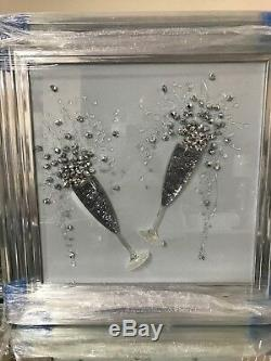 Champagne flute 3d glitter art picture with silver chrome frame