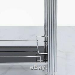 Chrome Silver Drinks Hostess Portable Push Trolley Black Glass Trays
