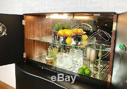 Cocktail Cabinet, Large Drinks Cabinet, Black And Gold Art Deco, 1960's Mid Cent
