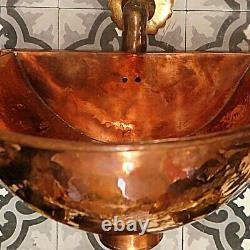 Copper Bathroom sink -Copper wall mounte Sink-unique Hammered sink