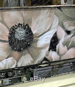 Cream & brown flower picture with crystals, liquid art & mirror frame