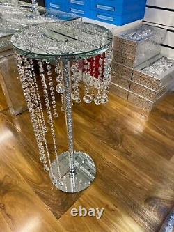 Crushed Crystal Glass Side Table With Hanging Balls Decorative Table 62cmTall