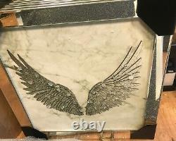 Crushed Crystal Silver Wings Angel Shimmer Liquid Art Mirror Picture Frame Wall