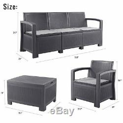 Cube Rattan Garden Furniture Set Chairs Sofa Table Outdoor Patio Wicker 5 Seater