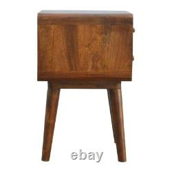 Dark Brown Curved Mid Century Style Bedside Table Cabinet Art Deco Scandanavian