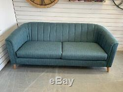 Designer Ashley Manor Pimlico Art Deco Style Teal Weave 3 Seater Sofa RRP £1075