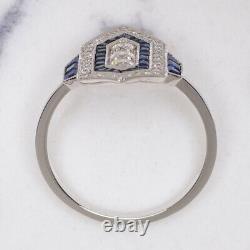 Diamond Sapphire Vintage Style Ring Art Deco Geometric Cocktail Antique Natural