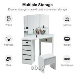Dressing Table White Corner Desk Makeup Vanity Table Drawers Stool Dresser Room