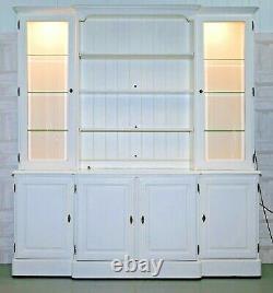 Ducal Breakfront Bookcase Welsh Dresser Solid Pine Lights & Adjustable Shelves