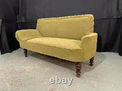 EB1216 Danish Green Patterened Fabric High-Backed Chaise Longue Vintage Lounge
