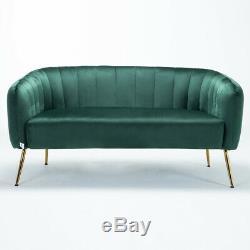 Emerald Green Plush Velvet 2 Seater Sofa Shell Back Accent Love Seat Living Room