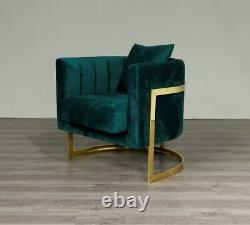 Emerald Green Velvet Tub Accent Chair Gold Finish Frame UK Stock FREE Delivery
