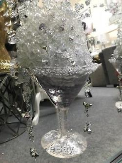 Extra large 4 Cocktail glass 3D glitter art mirrored picture with mirrored frame