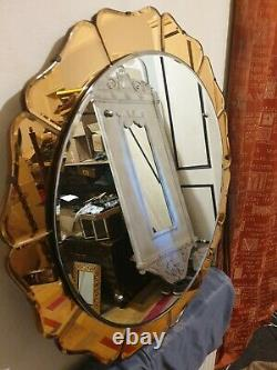 Fabulous Vintage 1940s/50s Art Deco Style Round Mirror with Peach Glass Petals
