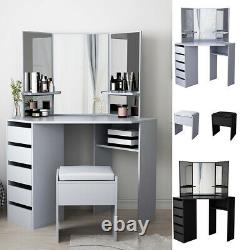 Fancy Corner Dressing Table Multi-angle Mirror Stool 5 Drawers Desk Arielle NEW