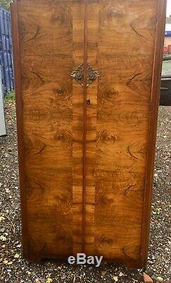 Fantastic Art Deco style Gentlemans Fully Fitted Walnut Wardrobe Excellent Order