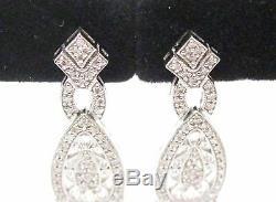 Fine Art Deco-style Chandelier Dangling Diamond Earrings G-H VS1 14k White Gold
