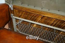 Finest Quality Art Deco Fully Restored Hand Dyed Brown Leather French Sofa Bed
