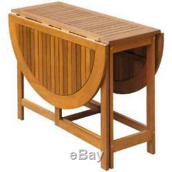 Folding Drop Leaf Dining Table Wooden Restaurant Kitchen Outdoor Garden Table UK