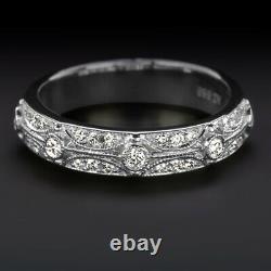 G-H VS DIAMOND VINTAGE STYLE WEDDING BAND STACKING RING 14k WHITE GOLD ART DECO