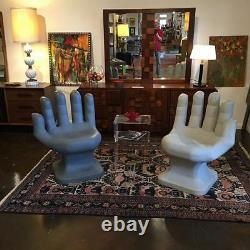 GIANT Light Blue HAND SHAPED CHAIR 32 tall adult size 70's Retro EAMES iCarly