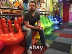 GIANT Neon/Lime Green right HAND SHAPED CHAIR 32 70's Retro EAMES iCarly NEW