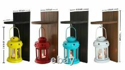 Garden Decoration Items Lantern Lamps Living Room With Wooden Shelve Set Of 4