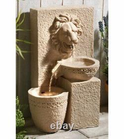 Gardenwize Garden Outdoors Solar Powered Lion Head Stone Water Feature Fountain