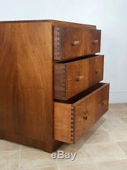 Genuine Heal's Walnut Vintage Retro Chest Drawers Art Deco Mid Century Crossover