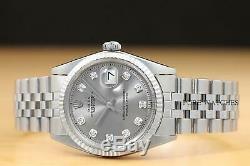 Genuine Rolex Mens Datejust Gray Diamond Dial Watch withOriginal Rolex Band
